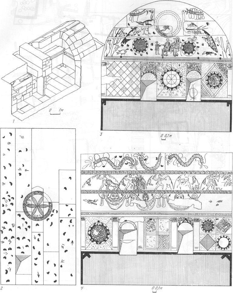 Таблица XLII. Горгиппии. Склеп 1975 г. II—III вв. н. э.: 1 — аксонометрия склепа; 2 — свод склепа; 3 — роспись степы напротив входа; 4 — роспись боковой степы. Составитель Е. М. Алексеева