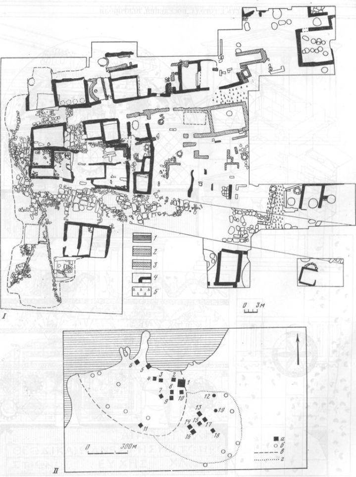 Таблица XLI. Горгиппии 1 —план раскопа «Город»: i — кладка IV—III вв. до н. э.; 2 — кладка II в. до н. э.; 3 — кладка I в. н. э.; 4 — кладка II—III вв. н. э.; 5 — черепяные вымостки. II — расположение раскопов на территории г. Анапа — раскопы: 1 — Город (1960—1978); 2 — Лазурный (1970 г.); 3, 4 — Гостиница I (1961 г.) и II (1962 г.); 5-Берег (1960 г.); 6 - Портовый (1970—1971 гг.); 7 — Центр (1977—1978 гг.); 8, 9 — Ткацкая фабрика (1971—1972; 1974—1975 гг.); 10 — Кубанский (1962 г.); 11—Пансионат им. Н. К. Крупской (1970 г.); 12 — гробница 1976 г.; 13 — кинотеатр «Родина» (1954—1956 гг.); 14, 15 — Протапова II (1971—1972 гг.); 16 — Терская и Про-тапова (1974, 1975 гг.); 17, 18 — Астраханский (1957, 1963, 1964); 19 — склепы 1975 г.: а — раскопы; б — важнейшие находки; в — граница города; г — граница некрополя. Составители И. Т. Кругликова, Е. М. Алексеева