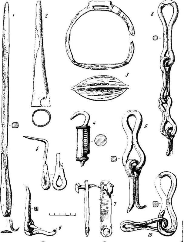 Рис. 6. Вещи, найденные на полу постройки 9 1 — железный стержень, 2 — наконечник копья, 3 — стремя, 4 — замок, 5 — скоба, 7 — накладка, 6, 8, 9, 10 — звенья железной цепи