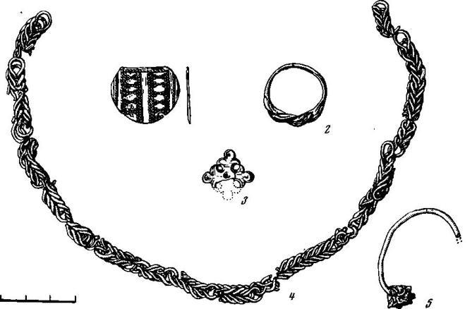 Рис. 7. Городище Осовик 1 — серебряный медальон-подвеска, 2 — бронзовый перстень, 3 — крестик, 4 — серебряная шейная цепь, 5 — обломок серебряного височного кольца. Места находки:3 — постройка 1; 2 — верхний горизонт (вне комплексов); 1, 4, 5 — под постройкой 1