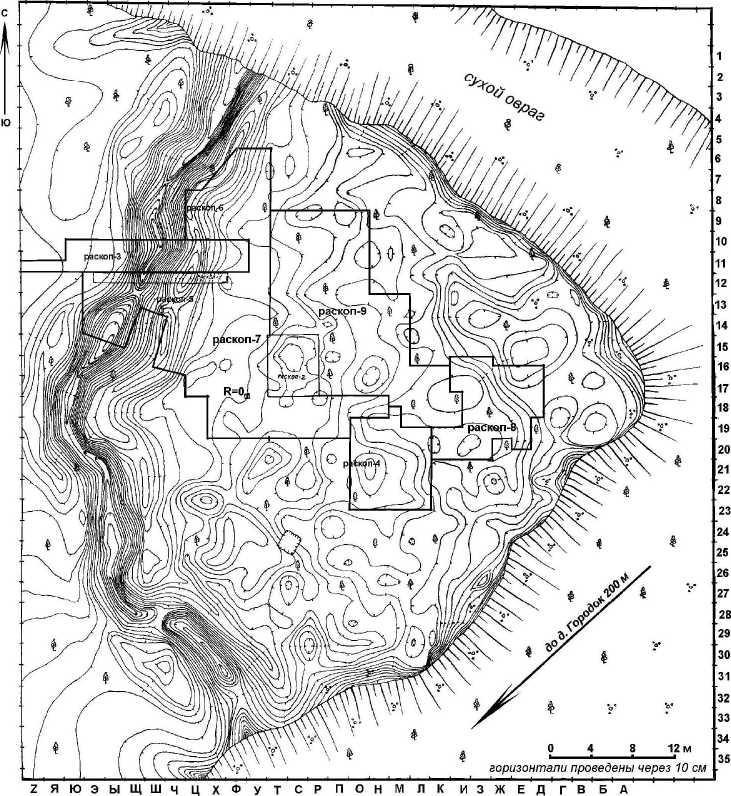 Рис. 2. План городища Городок с обозначением исследованных площадей.