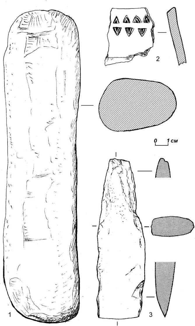 Рис. 16. Поселение Городок-4: 1 — курант; 2 — керамика. 3 — каменный топор, найденный у с. Сарапки