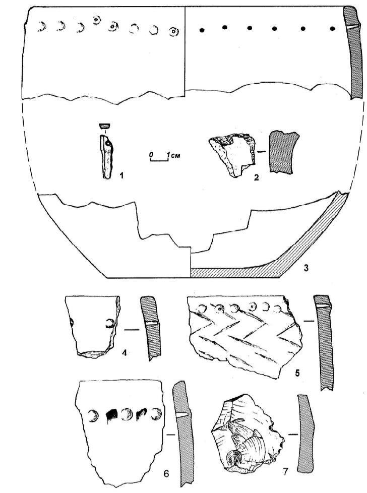 Рис. 17. Поселение Экран-1: 1 — бронзовый стержень; 2 — обломок глиняной бронзолитейной формы; 3-5 — керамика. Поселение Шевели-1: 6 — керамика; 7 — кремневый отщеп.