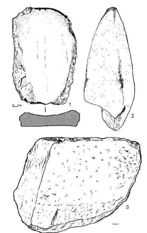 Рис. 9. Городище Городок. 1 — абразивный камень; 2 — курант; 3 — гранитная наковальня для проковки криц.