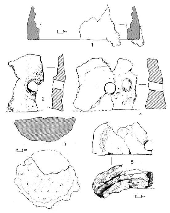Рис 10. Городище Городок. 1,2, 4, _5 - фрагменты глиняных стенок железоплавильных печей, 3 — железный шлак.