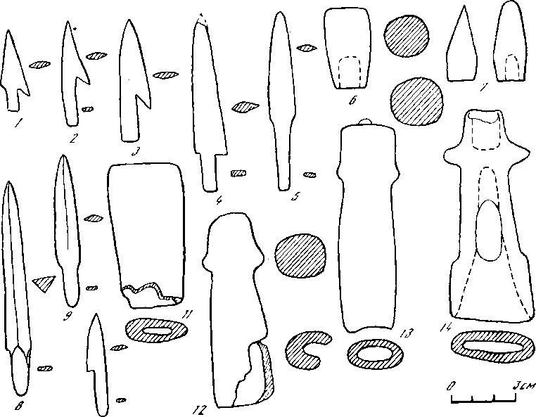 Рис. 2. Костяные наконечники стрел (1-10) и роговые рукоятки ножей (11 — 14) с городища Графская Гора