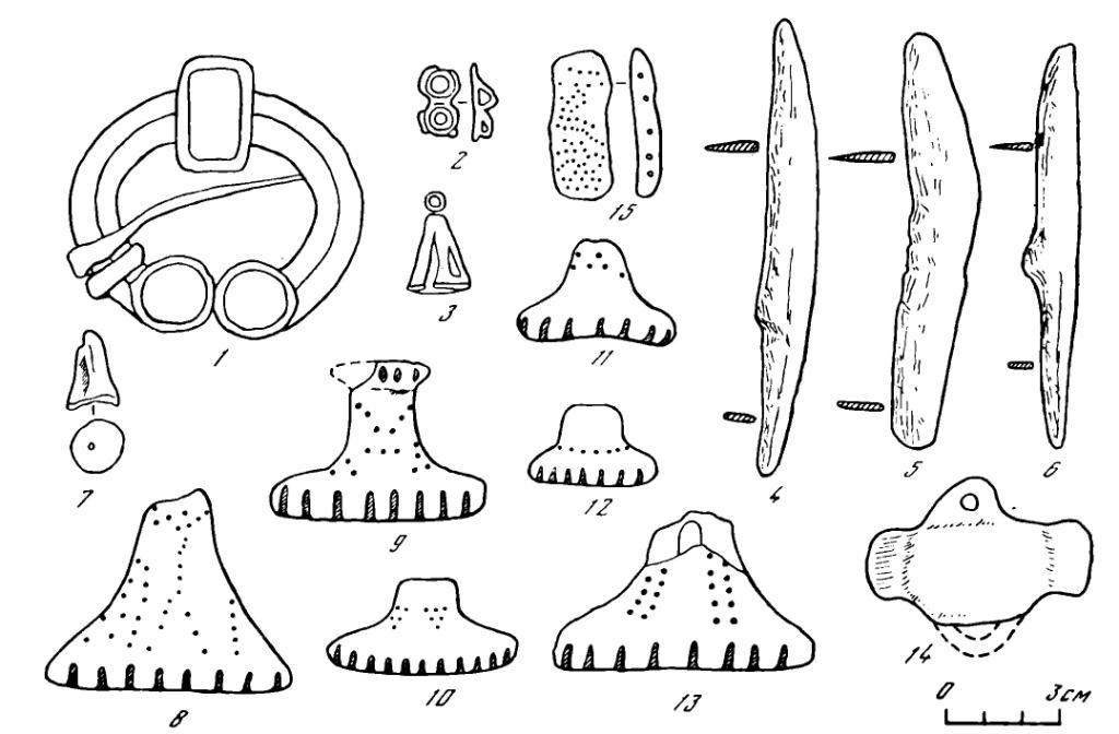 Рис 1. Находки на городище Графская Гора. 1—3 — бронзовые украшения; 4—6 — железные ножи; 8-15 - керамические предметы