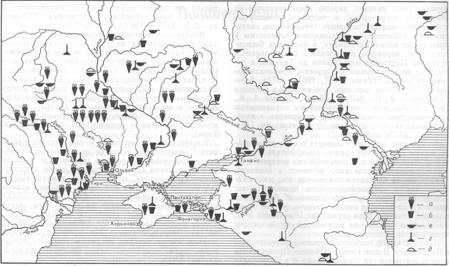 Карта 14. Распространение античного импорта в Северном Причерноморье в I—IV вв. н. э. а — продукты, транспортировавшиеся в амфорах (вино, масло) ; б — глиняная посуда; в — металлические изделия; г — стеклянные изделия; д — фибулы. Составитель И. Б. Брашинский