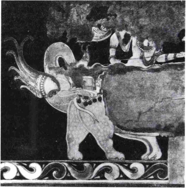 Рис. 7. Деталь живописного панно из Варахши (Бухарский оазис). VI—VII вв. н. э.