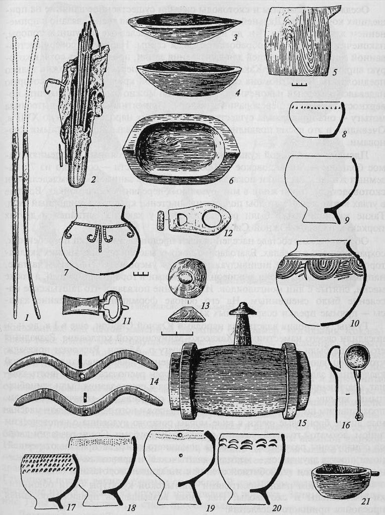 Таштыкская культура; колчан; 3-6, 15, 16, 21 - деревянная посуда; 7-10, 17-20- керамические сосуды; 11, 12 - бронзовая и костяная пряжки; 13— пряслице; 14 — змеевидные украшения