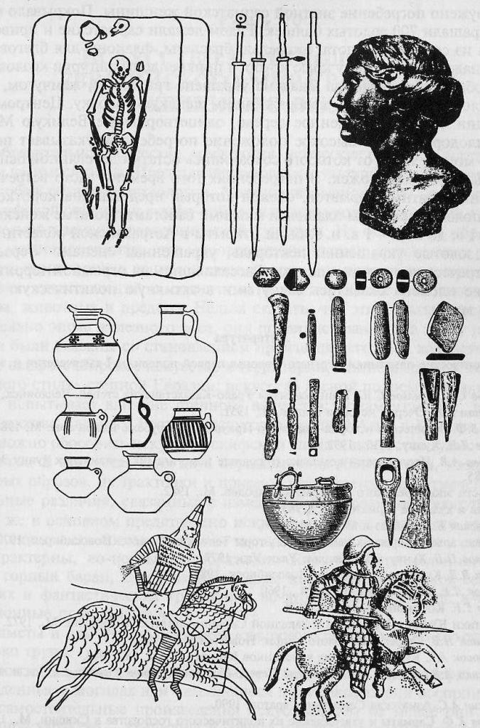 Сарматская культура: погребение воина с мечом, сарматские длинные мечи, сосуды, железные предметы, изображения воинов