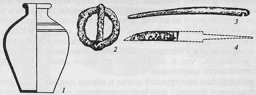 Гунны Забайкалья: 1 — глиняный сосуд; 2 — пряжка; 3 — костяная пластина для лука; 4— черешковый железный нож