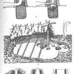 Реконструкция сыродутного процесса в раннем железном веке: начальная и конечная фазы сыродутного процесса; 2 — получение железа из руды в открытой в древней мастерской-полуземлянке (Мшецке Жехровице, Чехия); 3 — основные типы древних сыродутных печей (в разрезе)