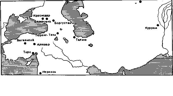 Рис. 2. Карта распространения тесел.