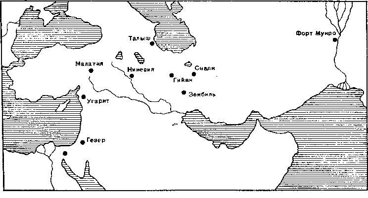Рис. 4. Карта распространения мечей