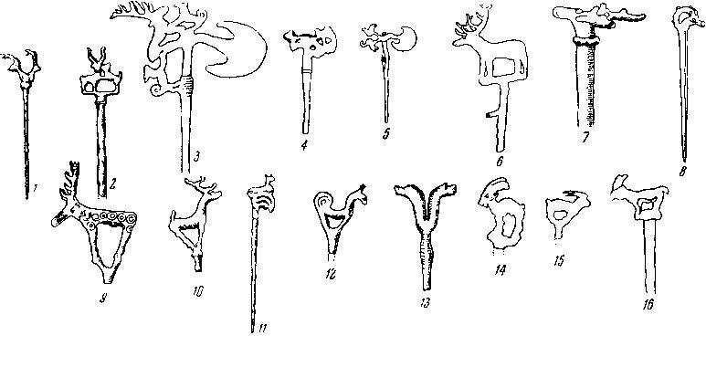 Рис. 6. Булавки. 1 — из Мохенджо-Даро; 2 — из Хараппы; 3 — из Кобана, около 1300 г. до н. э.; 4 — из Байбурта, 1550 —1400 гг. до н. э.; 5, 6, 8 — из Луристана, 2100 — 1750 гг.до н. э.; 7 — из Геок-Тепе, 2300 — 2100 гг. до н. э.; 9 — из Алачи-Уйюк, около 2000 г. до н. э.; 10 — с Кавказа; 11 — из Луристана, 1400 г. до н. э. или раньше; 12 — из Араган-тепе; 13 — из Кобана, около 1300 г. до н. э.; 14, 15 — из Библа, 2050 —1900 гг. до н. э.; 16 — из Мегиддо, 2400—2350 гг. до н. э.