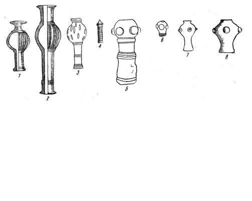 Рис. 9. Навершия булав. 1 — из Чанху-Даро; 2 — из Луристана; 3 — из Гисара; 4 — из Грузии; 5, 6 - из Сиалка, некрополь «В»; 7 — из Кобана; 8 — из Зембиля