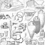 Таблица XXVI. Харакс 1 — генеральный план раскопок (I — Нимфей, II —термы, III — таврская стена, IV — башня, V — ворота, VI — наружная оборонительная стена, VII —пустырь, VIII — внутренняя оборонительная стена); 2, 3 — нижняя оборонительная стена, план и разрез; 4, 5 — нимфей, план и разрез; 6 — надпись из нимфея; 7 — обломок черепицы с клеймом век-силляции Равенской эскадры; 8, 9 — могилы 10 и 15 с трупосожжением IV в. н. э.; 10—12 — амфоры, использовавшиеся в качестве урн (из могил 26, 33, 29); 13, 14 — сероглиняные чашки (из могил 28 и 22); 15—19 —• сосуды (из могил 29, 18, 21, 28); 20, 21 — стаканы с синими глазками (из могил 15, 33); 22 — ручка сосуда в виде животного (из могилы 15); 23 — рыболовный крючок (из могилы 10); 24 — пряжка; 25, 26 — браслеты (из могилы 19); 27, 28 — фибулы (из могилы 33); 29—39 — бусы; 40 — наконечник копья (из могилы 18); 41 — топор (из могилы 19); 42 — надгробие; 43 — рельеф с изображением фракийского всадника из святилища бенефициариев; 44 — алтарь из святилища бенефициариев 6, 7, 10—19, 22 — глина; 20, 21 — стекло; 23—28, 40 — бронза; 29—ЗУ — стеклянная паста; 40—41 — железо; 42—44 — камень. Составитель Е. А. Савостина