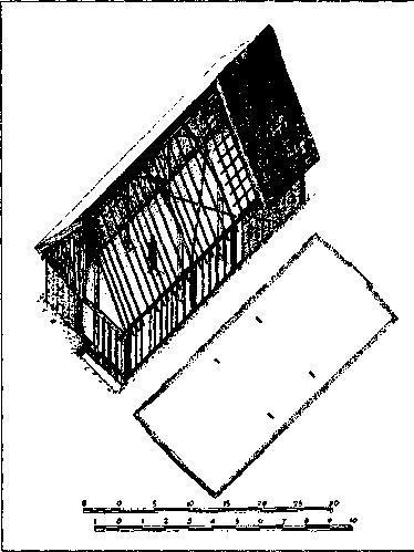 Рис. 53. Аксонометрическая реконструкция дома в Хедебю