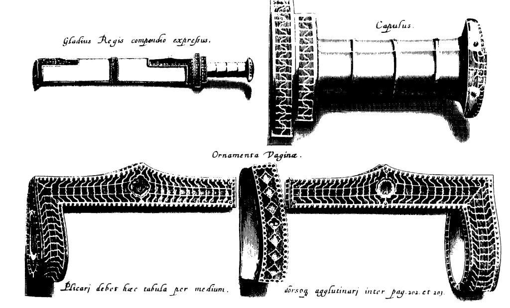 Рис. 3. Детали меча и скрамасакса, с реконструкцией, предложенной в 1655 г. (по Chiflet, 1655)