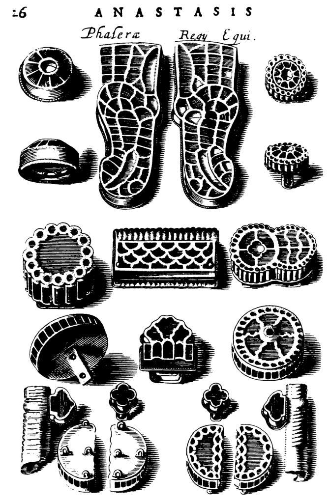 Рис. 4. Вещи с перегородчатой инкрустацией из могилы Хильдерика (Chiflet, 1655)
