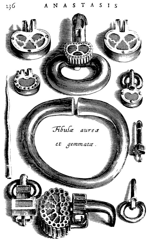 Рис. 1. Вещи с перегородчатой инкрустацией, золотой браслет и золотая игла из могилы Хильдерика (Chiflet, 1655)