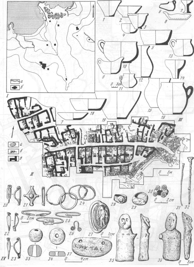 Таблица XXXVII. Поселение у деревни Семеновка I — ситуационный план расположения раскопов: а — выходы скалы; б — площади раскопов. II —план раскопа I на северном холме: а — глинобитные печи; б — вымостки; в — стены жилищ. III — керамика: 1, 2, 4, 5, 9—13, 15—19 — ленные сосуды; 3 — кружальная миска; 6—8 — лепные светильники; 14 — воронка; 11, 13 — сосуды с красной лощеной поверхностью. IV — разные находки: 20—23 — фибулы и брошь; 24—25 — браслеты; 26 — подвеска; 27 — перстень с сердоликовой геммой; 28 — перстень со стеклянной вставкой; 29—