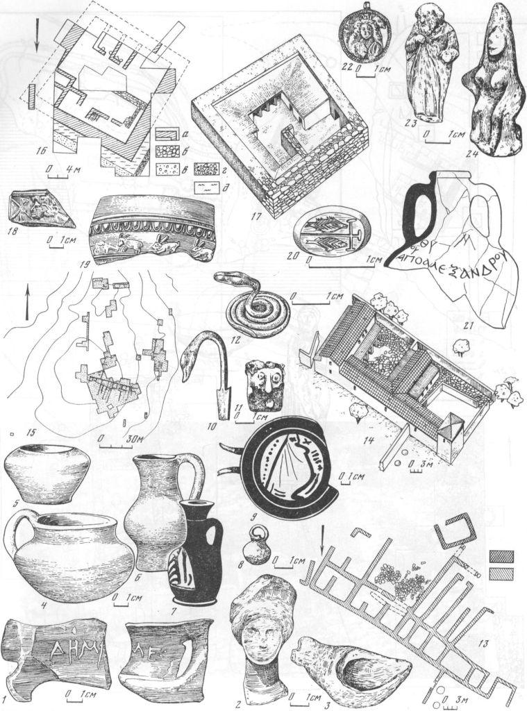 Таблица XXXVI. Сельские усадьбы — Андреевка Южная (1—15) и Ново-Отрадное (16—24) 1 — край чернолакового канфара с граффити; 2 — головка терракотовой статуэтки; 3 — льячка; 4—6 — красноглиняные сосудики; 7 — чернолаковый лекиф с пальметкой; 8 — бронзовая подвеска; 9 — краспофигурный килик; 10 — часть бронзового черпака; 11 — бусина; 12 — серебряная змейка; 13, 14 — план усадьбы (раскоп И) и ее реконструкция; 15 — схема расположения раскопов на поселении Андреевка Южная; 16, 17 — план усадьбы III в. у с. Ново-Отрадное и ее реконструкция; 18 — край краснолакового блюда; 19 — край рельефной чаши; 20 — изображения рыбы и креста, вырезанные на сердоликовой вставке перстня из могильника; 21 — надпись краской на горле амфоры; 22 — электровый медальон; 23 — рельеф под ручкой эллинистического чорнолакового сосуда; 24 — лепная статуэтка сидящей богини. Составитель И. Т. Кругликова