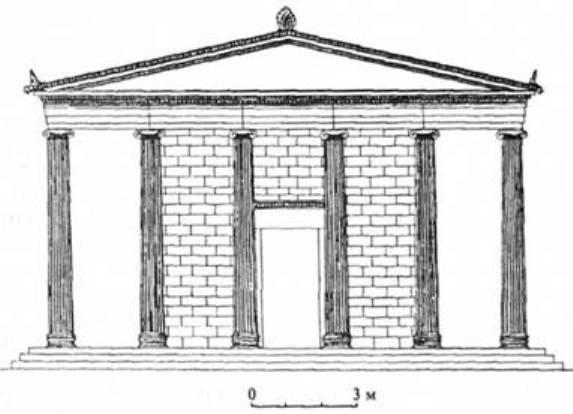 Рис. 12. Храм Аполлона в Пантікапеї (за І. Р. Пічікяном)