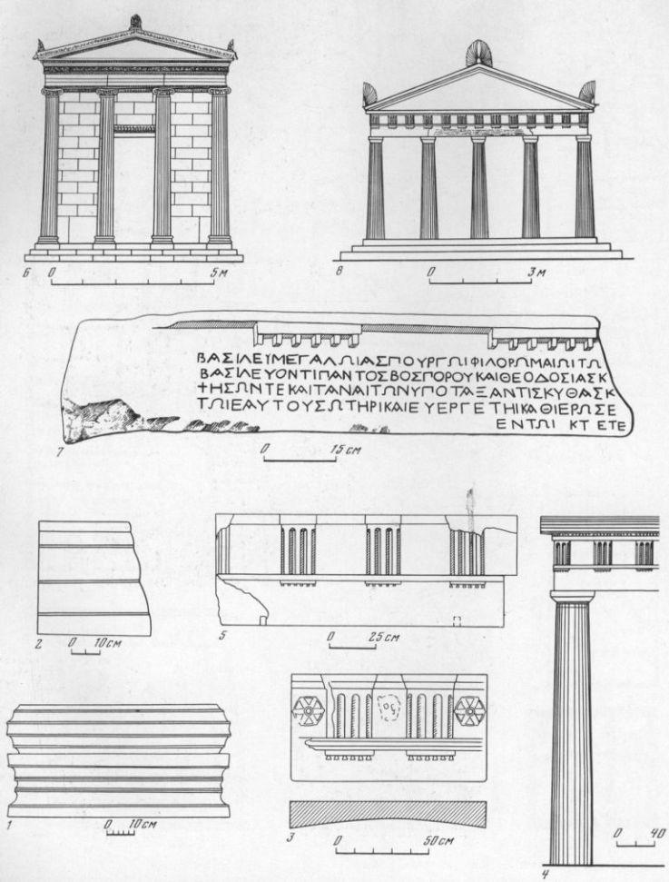 Таблица XC. Архитектура храмов VI в. до н. э. — I в. н. э. 1 — база ионийской колонны VI в. до н. э., Пантикапей (известняк); 2 — пасть архитрава того же храма; 3 — часть дорического антаблемента толоса в Ольвии II в. до н. з. (известняк); 4, 5— часть дорийского портика IV в. до н. э. в Мирмекии (реконструкция Л. Е. Ковалевской); 6 — фасад ионийского храма в Херсонесе III в. до н. э. (реконструкция И. Р. Пичикяна); 7 — часть мраморного дорийского архитрава с греческой надписью посвящением царю Аспургу; К фасад храма Аспурга (реконструкция В. Д. Блаватского). Составитель М. М. Кобылина