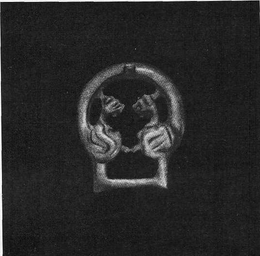 Латунная пряжка с протомами фантастических животных. Тулхарский могильник.