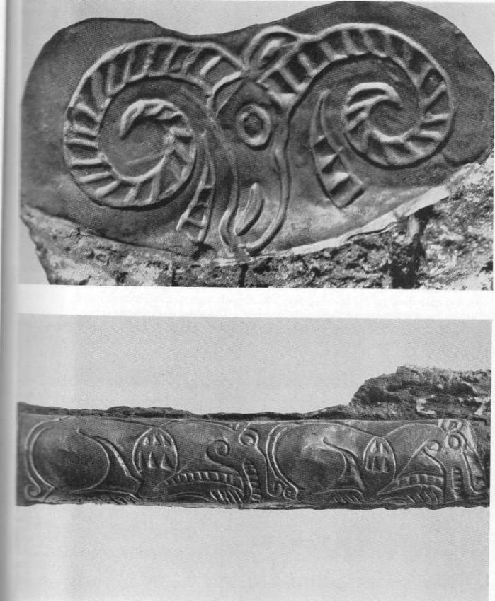 Золотая обкладка перекрестия меча с изображением головы барана. Тагискен, курган №53. Золотая обкладка ножен меча с изображением волков. Тагискен, курган №53.