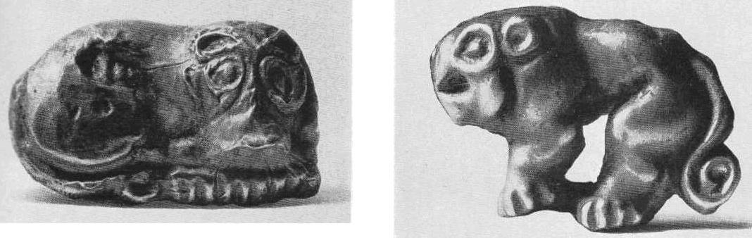 Золотая бляшка — лежащий лев с головой в фас. Тагискен, курган №53. Золотая бляшка — идущий лев. Тагискен, курган №31.