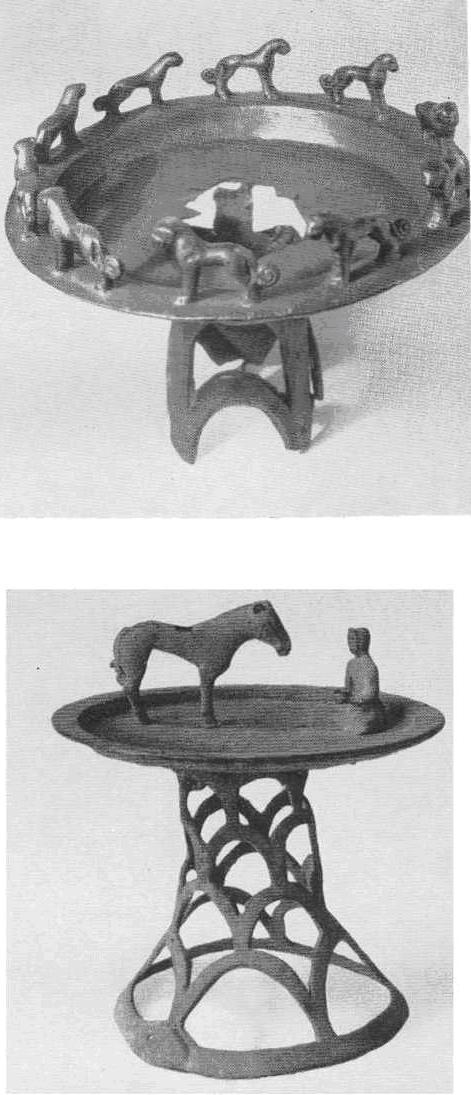Круглый светильник с фигурками животных по борту. Село Буконь. Восточный Казахстан. Светильник со скульптурами человека и лошади. Посёлок Иссык.