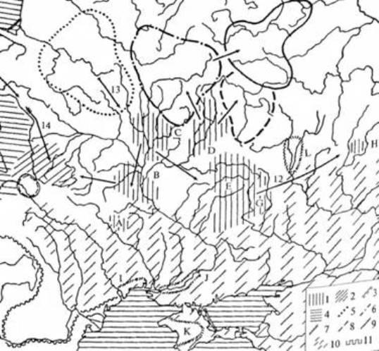 Рис. 4. Археологічні культури I—II ст. н. е.: 1 — Пізньозарубинецькі пам'ятки (А — типу Мар'янівка-Рахни. В — типу Лютіж, С — типу Ґрині, D — типу Почеп, Е — типу Картамишево 2, G — типу Терновка 2, Н — типу Шапкино-Інясево); 2 — зубрицька; 3 — липицька; 4 — пшеворська; 5 — культура штрихованої кераміки; 6 — дніпро-двінська; 7— пізньоскіфські культурні групи (І — типу Молога, J — нижньодніпровські, К — кримські, L — донські лісостепові); 8 — верхньоокська; 9 — дяківська; 10 — сарматські пам'ятки; 11 — римський лімес (стрілками показано напрями міграцій: 12 — пізньозарубинецьких племен, 13 — населення пізньої фази культури штрихованої кераміки, Н — населення вельбарської культури)