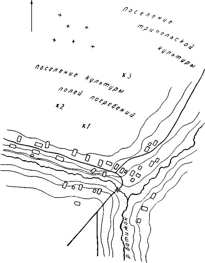 Рис. 42. Схематический план северо-западной окраины с. Иванковцы, где находились каменные фигуры древнеславянских идолов. 1 — каменная фигура с трехсторонним изображением; 2 — каменная фигура с односторонним изображением; 3 — разбитая каменная фигура
