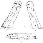 Рис. 44. Зарисовка тех же фигур древнеславянских идолов. Первая фигура: 1 — вид с северо-западной стороны; 2 — вид с юго-восточной стороны; вторая фигура: 3 — вид сверху