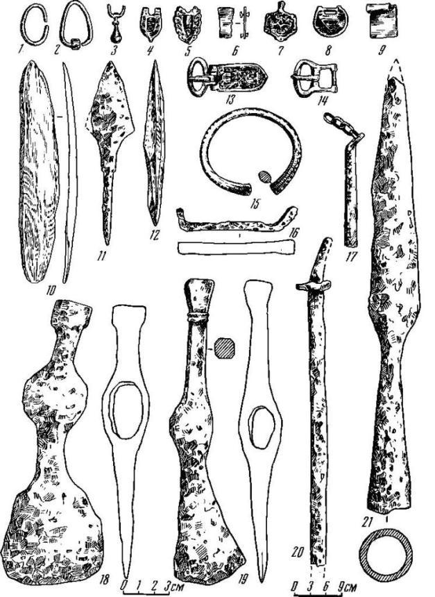 Рис. 2. Находки из погребений Игимского могильника. 1, 2, 11, 14, 10, 21 — из погр. 1, остальные из погр. 2.1, 4—9, 13—15, 17 — бронза; 2, 3 — серебро; 10, 12 — кость; остальное — железо