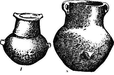 Рис. 64. Бодрогкерестурские формы сосудов: 1 — пиксида и 2 — крынка для молока. По Томпа.