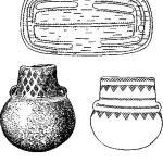 Рис. 94. Костяная пряжка для пояса (Подолия) (2/3); шаровидные амфоры (Саксо-Тюрингия и Подолия) (1/3).