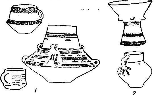 Рис.  93. 1 - вальтерниенбургские сосуды; 2 - бочонок и кувшин из Латдорфа.