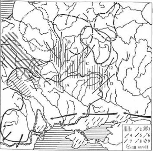 Рис. 11. Археологічні культури III — початку V ст. н. е.: 1 — київська (локальні варіанти: А — середньодніпровський, В — верхньодніпровський, С — деснянський, р — східнолівобережний); 2 — черняхівська; 3 — пам'ятки типу Черепин; 4 пам'ятки типу Етулія; 5 — культура штрихованої кераміки; б — дніпро-двінська; 7 — мошінська; 8 — дяківська; 9 – вельбарська; 10 — сарматські пам'ятки; 11 — римський лімес (стрілками показано напрями міграцій: 12 - населення київської культури і пам'яток типу Черепин; 13 — населення вельбарської культури; 14 — гунів)