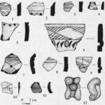 Рис. 6. Поселение Мусохраново-6. Раскопки 2008 года.Находки из шурфа №1: 1-9,11 - фрагменты керамической посуды, 10 - каменный скребок, 12 - игральная кость (альчик)
