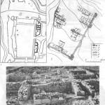 Таблица XXXIV. Городище Илурат 1 — план городища, составленный П. Дюбрюксом; 2 — план городища с обозначением раскопанных участков (а — оборонительные стены, вскрытые раскопками, б — нераскопан-ные участки оборопительных стен, в — раскопанные жилые дома, г — улица, д — постройка средневековой эпохи, е — границы раскопов); 3, 4 — помещения у юго-западной оборонительной стены. Составитель И. Г. Шургая