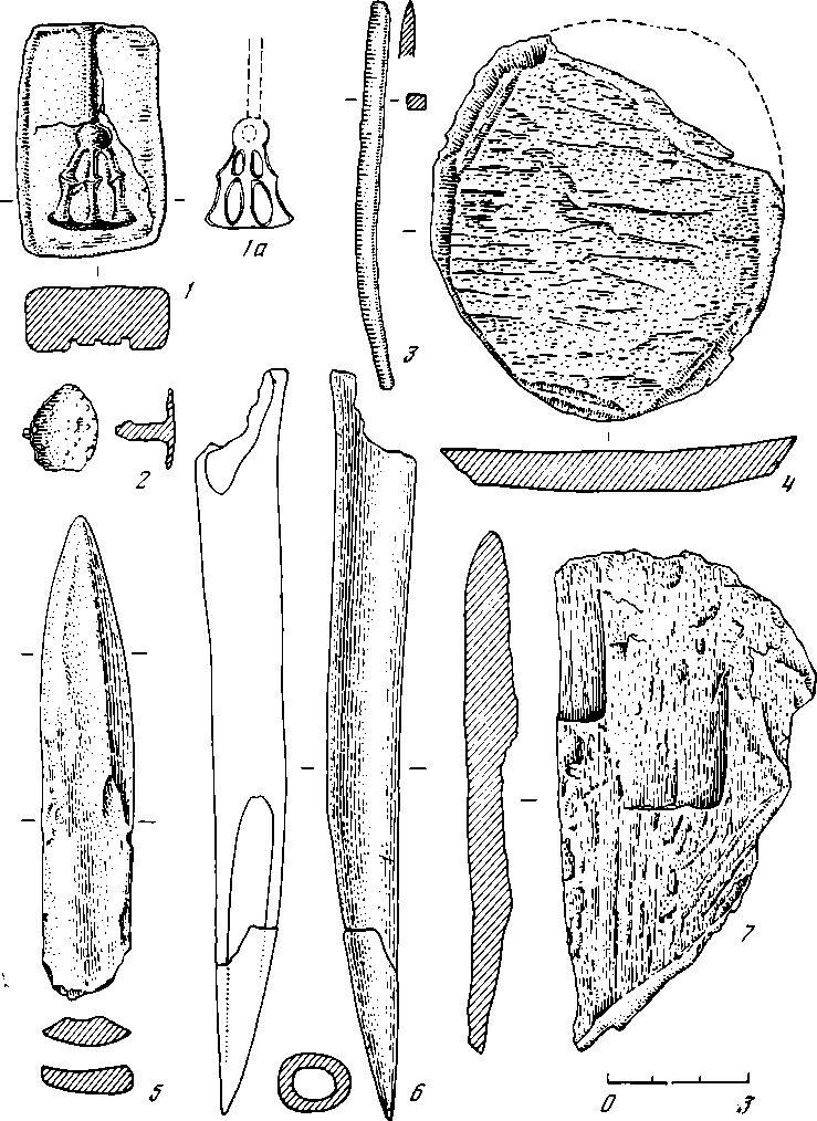 Рис. 5. Вещевой материал эпохи бронзы: 1 — глина; 2, 3 — бронза; 4—7 — кость