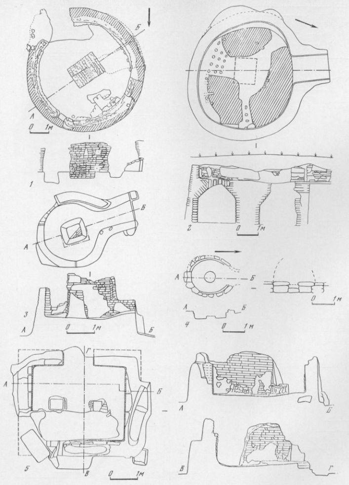 Таблица LXIV. Керамические печи. Планы и разрезы 1 — Пантикапей, III в. н. э.; 2 — Фанагория, IV 3 — Ольвия, конец I—III в. н. э.; 4 — Гермонасса, I. I. н. э.; в. н. э., реконструкция; 5 — Ольвия, конец I—III в. н. э. Составитель Д. Б. Шелов