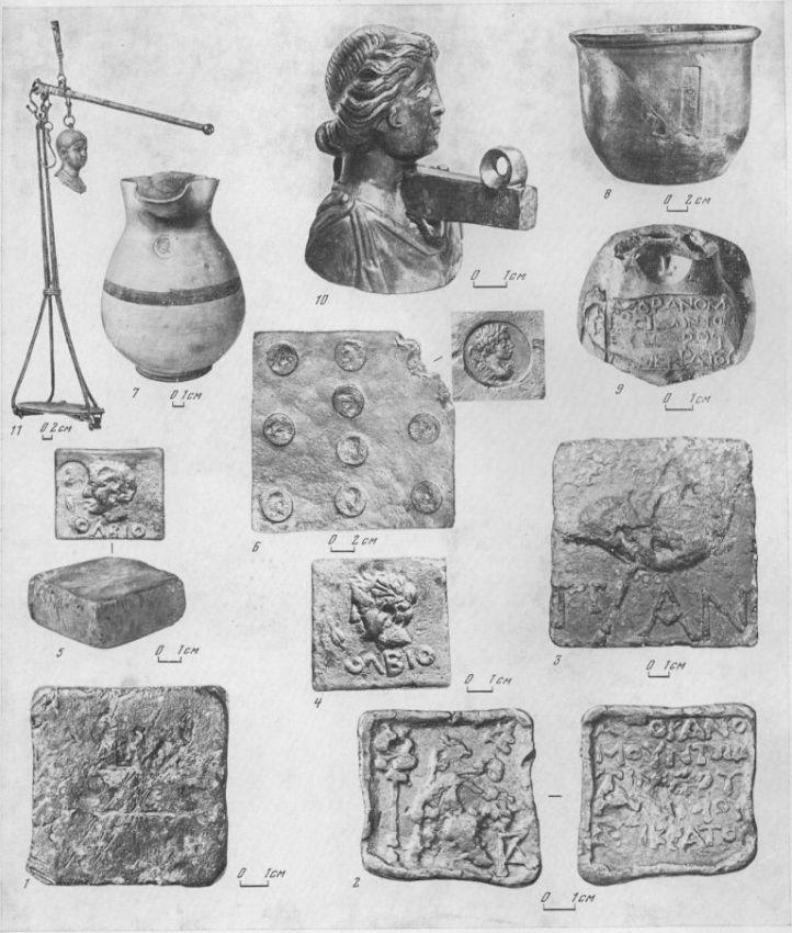 Таблица LXVI. Торговый инвентарь 1—6 — свинцовые гири-разновесы (1 — Елизаветинское городище, IV в. до н. э.; 2 — Нимфей (?), III в. до н. э.; 3 — Пантикапей, III в. до н. э.; 4 — Ольвия, III в. до н. э.; 5 — Ольвия, V—IV вв. до н. э.; 6 — Мирмекий, II в. до н. э.); 7 — мерная ойнохоя (Средиземноморье), V—IV вв. до н. э.; 8— мерный сосуд (Ольвия?), IV в. до н. э.; 9 — клеймо агораномов на мерном кувшине, Ольвия, III в. до н. э.; 10 — Широкая Балка, бронзовая фигурная гиря от весов, конец I в. до н. э. — начало I в. н. э.; 11 — Италия, римские весы, I в. н. э. Составитель И. Б. Брашинский