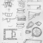 Таблица LVIII. Винодельни, гири, тарпаны, реконструкции прессов 1—2 — разрез и план винодельни («Партизаны» — III—II вв. до н. э.); 3—5 — разрезы и план винодельни (Тиритаиа, II— III вв. н. э.); 6—8 — каменные гири прессов (6 — Тиритака, I в. до н. э.— I в. н. э., 7 — Херсонес, усадьба клера № 9, III в., 8 — Тиритака, III—IV вв.); 9— реконструкция гири и рычажно-винтового пресса; 10 — каменный тарапан для виноградного пресса (Херсонес, усадьба клера № 26, II в. до н. э.); 11 — тарапан (Пантикапей, III—II вв. до н. э.); 12 — тарапан («Партизан», II в. до н. э.); 13 — корыто для выжимания виноградного сока (Мирмекий, 111—II вв. до н. э.); 14 — тарапан (Херсонес, III—II вв. до н. э.); 15 — реконструкция херсонесской давильни; 16 — рычажный пресс с воротом и подвесной гирей по Герону. Реконструкция А. Драхмана; 17 — рычажно-винтовой пресс по Плинию, первый вариант. Реконструкция А. Драхмана. Составитель И. Т. Кругликова