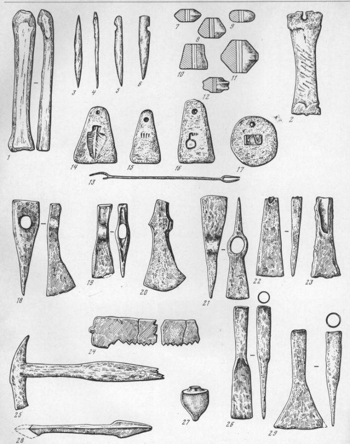 Таблица LXI. Орудия труда 1 — гладилка; 2 — рашпиль; 3 — проколка; 4 — игла; 5—6 — костяные орудия; 7—12 — пряслица; 13 — вязальная спица; 14—17 — ткацкие грузики-подвески; 18—20 — топоры; 21 — топор-тесло; 22, 23 — тесло; 24 — пила; 25 — молоток; 26 — долото; 27 — гирька отвеса; 28 — бурав; 29 — железный инструмент 1—6 — кость; 7—12, 14—17— глина; 13 — бронза; 18—26, 28, 29 — железо; 27 — свинец. 1, 3, 7—12 — Танаис; 2, 4, 19, 22, 24, 25 — Ольвия; 5,6 — Тиритака; 13, 21 — Семеновка; 14— 17 — Боспор; 18 — Фальшивый Геленджик; 20 — Харакс; 23 — Раевское городище; 26 — Гермонасса; 27 — Пантикапей; 28 — Батарейка И; 29 — Михайловка. Составитель Д. Б. Шелов