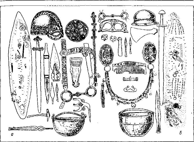 Рис. 24. Погребения в ладье вендельского периода и эпохи викингов. Планы могил и сопровождающий инвентарь а — погребения типа Vt; b — погребения типа Bg